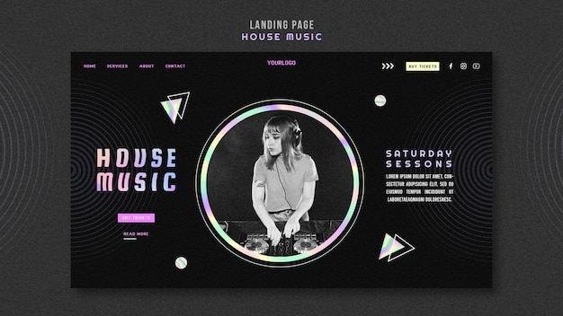 Modèle de page de destination de musique house