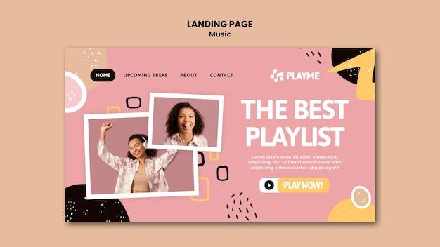 Modèle de page de destination de musique avec photo