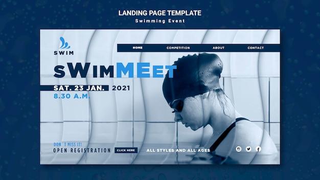 Modèle de page de destination de natation