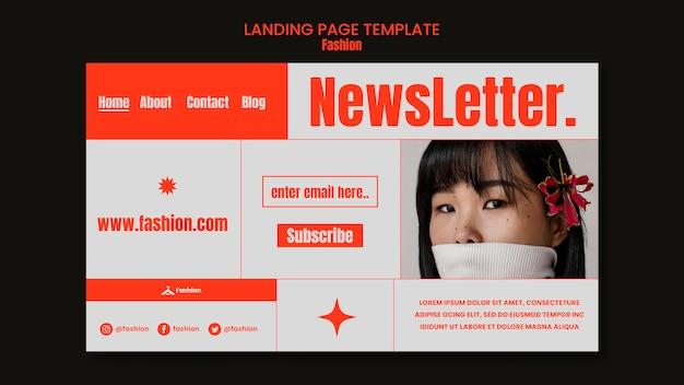 Modèle de page de destination de newsletter de mode