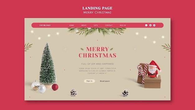 Modèle de page de destination de noël festif minimaliste