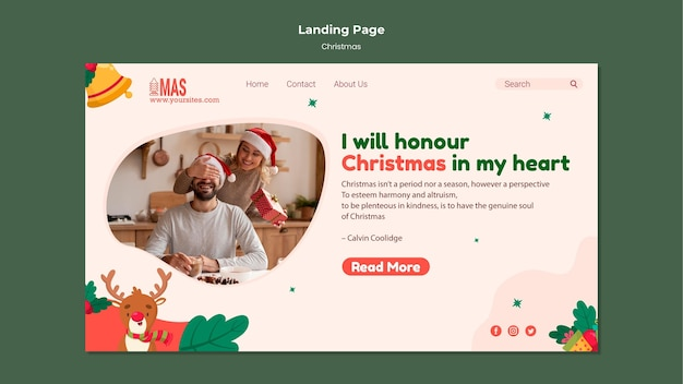 Modèle de page de destination de noël festif