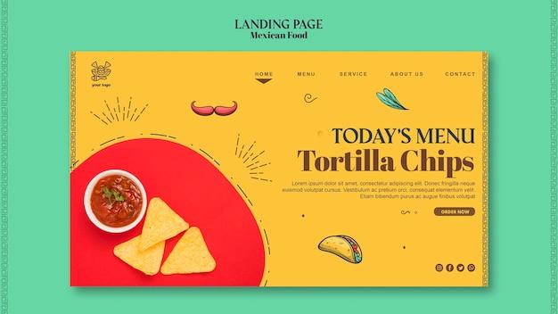 Modèle de page de destination de la nourriture mexicaine