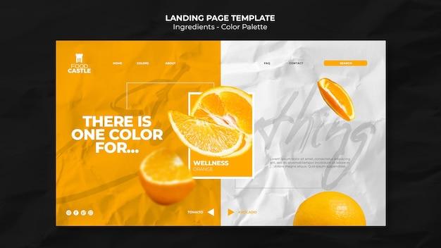 Modèle de page de destination avec orange