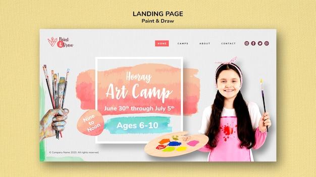 Modèle de page de destination paint & draw