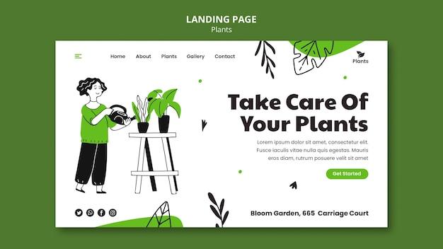 Modèle de page de destination de passe-temps de jardinage