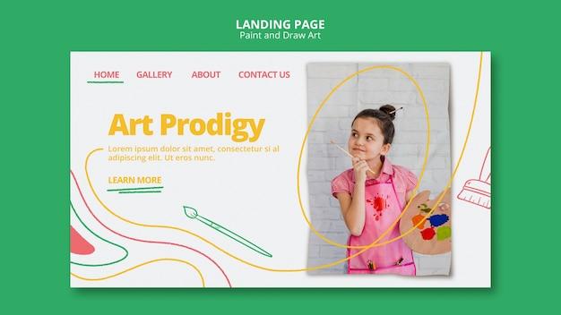 Modèle de page de destination de peinture et dessin