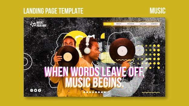 Modèle de page de destination de performance musicale