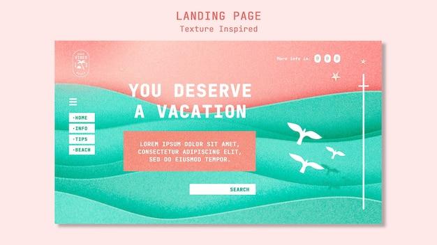 Modèle de page de destination de plage texturée