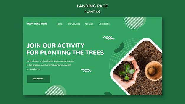 Modèle de page de destination plantation des arbres