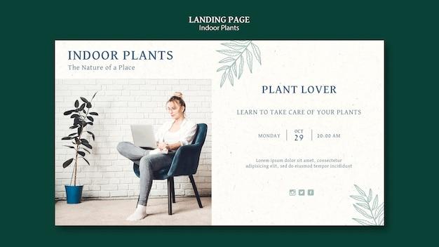 Modèle de page de destination de plantes d'intérieur avec photo