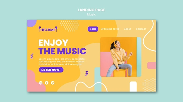 Modèle de page de destination de plate-forme musicale