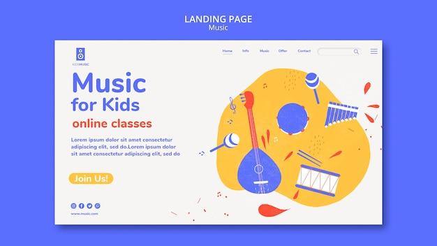 Modèle de page de destination de plate-forme de musique pour enfants