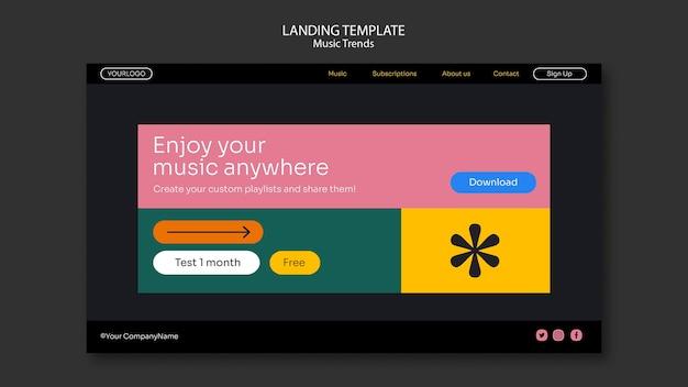 Modèle de page de destination de la plateforme de streaming musical