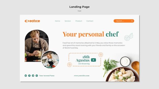 Modèle de page de destination de plats savoureux