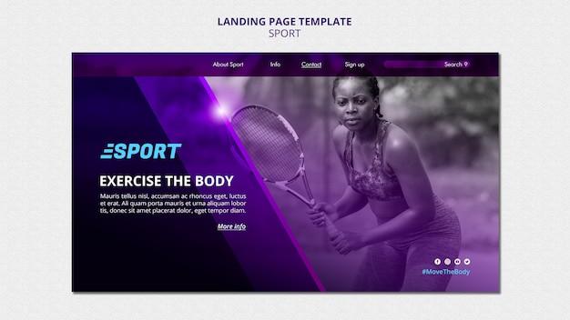Modèle de page de destination pour les activités sportives