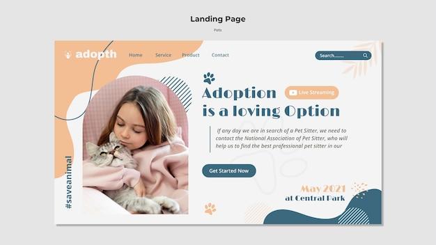 Modèle de page de destination pour l'adoption d'un animal de compagnie