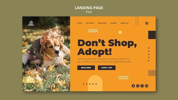 Modèle de page de destination pour l'adoption d'animaux de compagnie