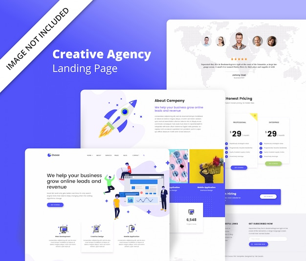Modèle de page de destination pour une agence créative