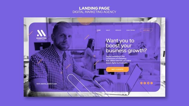 Modèle de page de destination pour agence de marketing numérique