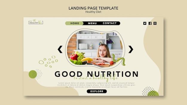 Modèle de page de destination pour une alimentation saine avec des légumes