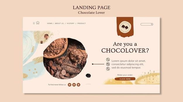 Modèle de page de destination pour les amateurs de chocolat