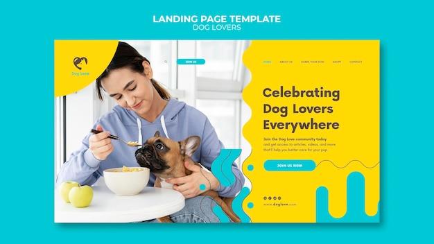 Modèle de page de destination pour les amoureux des chiens avec propriétaire féminin