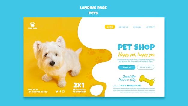 Modèle de page de destination pour animalerie