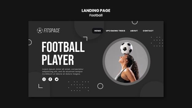 Modèle de page de destination pour une annonce de football