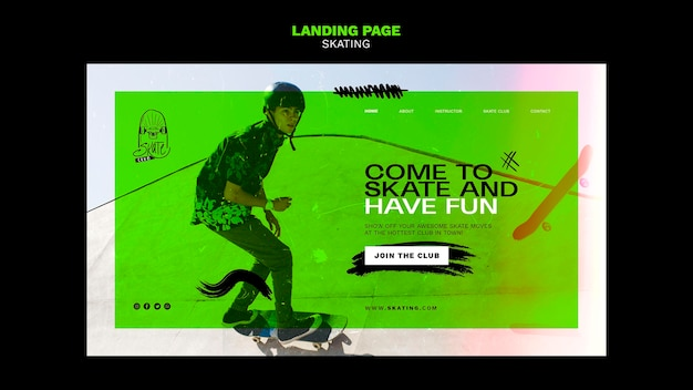 Modèle de page de destination pour une annonce de patinage