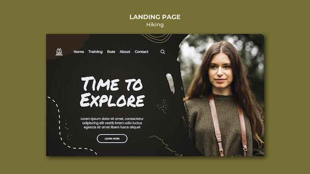 Modèle de page de destination pour une annonce de randonnée