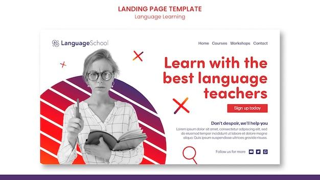 Modèle de page de destination pour l'apprentissage des langues