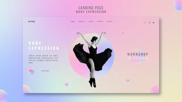 Modèle de page de destination pour l'atelier d'expression corporelle