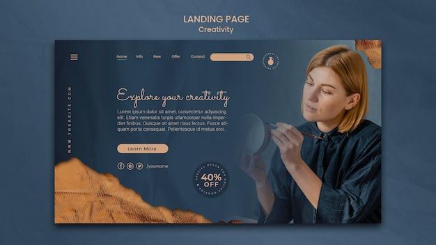 Modèle de page de destination pour un atelier de poterie créative avec une femme