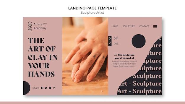 Modèle de page de destination pour l'atelier de sculpture