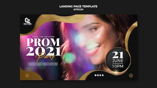 Modèle de page de destination pour le bal de fin d'année