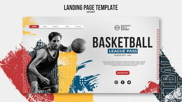 Modèle de page de destination pour le basket-ball avec un joueur masculin