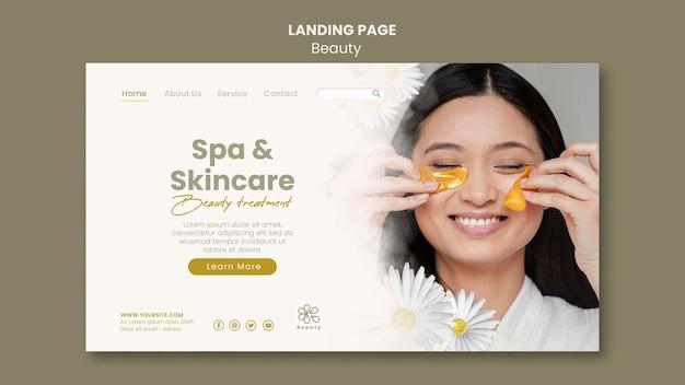 Modèle de page de destination pour la beauté et le spa avec des fleurs de femme et de camomille