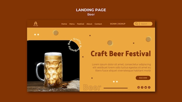 Modèle de page de destination pour la bière fraîche