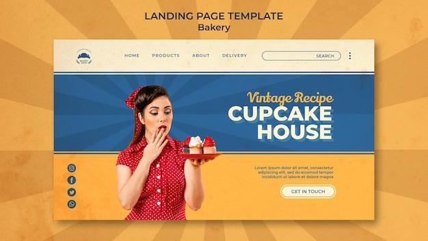Modèle de page de destination pour boulangerie vintage avec femme