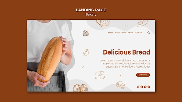 Modèle de page de destination pour la boulangerie