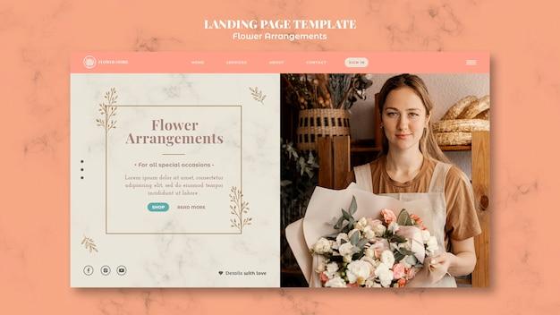 Modèle de page de destination pour la boutique d'arrangements floraux