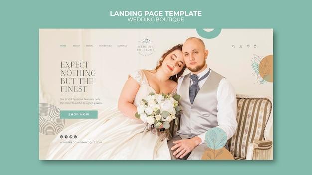 Modèle de page de destination pour une boutique de mariage élégante
