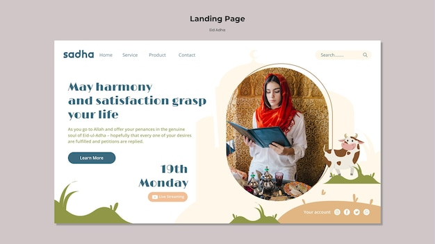 Modèle de page de destination pour la célébration de l'aïd al-adha
