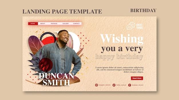 Modèle de page de destination pour la célébration d'anniversaire d'anniversaire