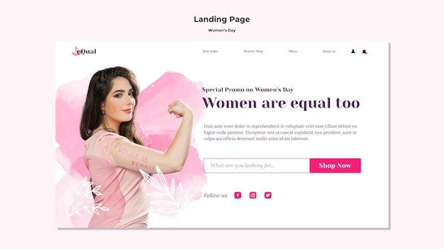 Modèle de page de destination pour la célébration de la journée des femmes