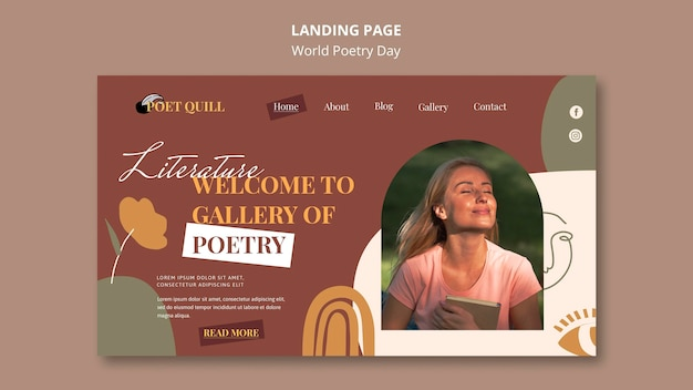 Modèle De Page De Destination Pour La Célébration De La Journée Mondiale De La Poésie PSD Premium
