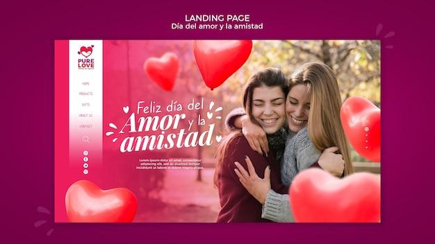 Modèle de page de destination pour la célébration de la saint-valentin