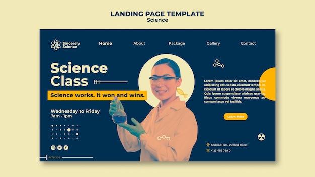 Modèle de page de destination pour la classe de sciences