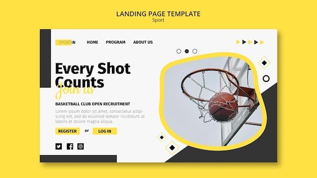 Modèle de page de destination pour le club de basket